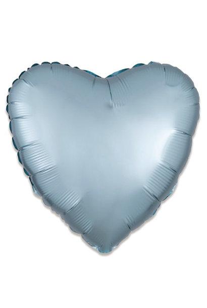 Folieballon satin luxe hart pastel blauw (43 cm)