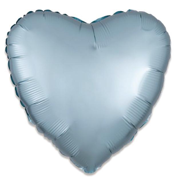 Folieballon satin luxe hart pastel blauw (43 cm)-1