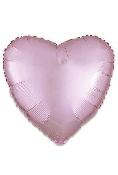 Folieballon satin luxe hart pastel roze (43 cm)