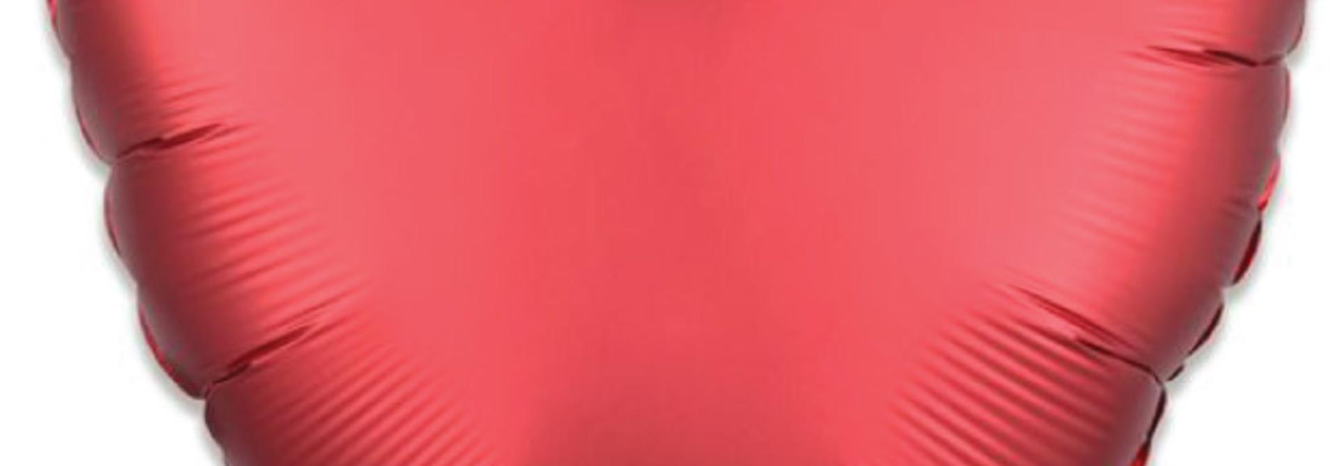 Folieballon satin luxe hart rood (43 cm)