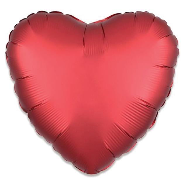 Folieballon satin luxe hart rood (43 cm)-1