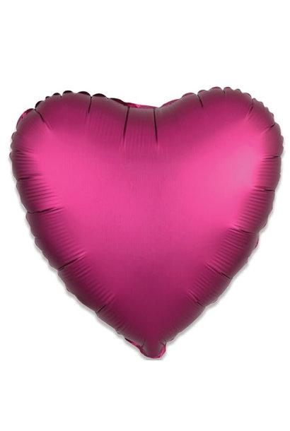 Folieballon satin luxe hart granaatappel (43 cm)