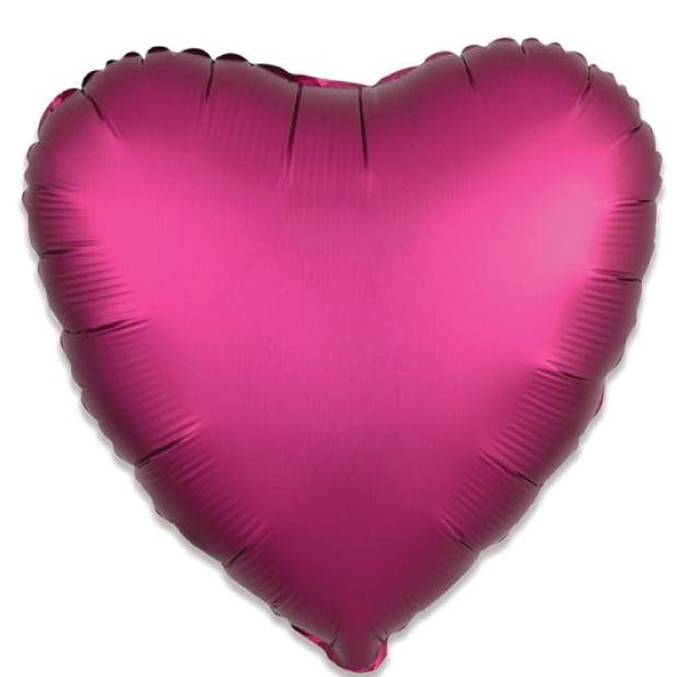 Folieballon satin luxe hart granaatappel (43 cm)-1