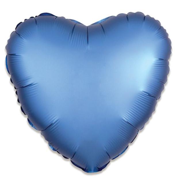 Folieballon satin luxe hart blauw (43 cm)-1