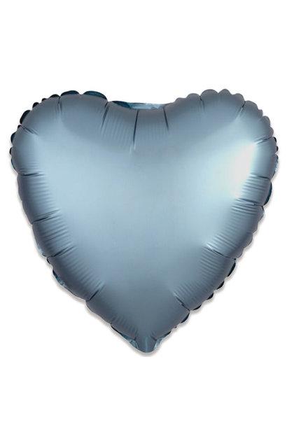Folieballon satin luxe hart staalblauw (43 cm)