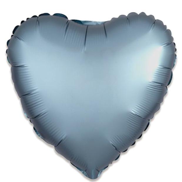 Folieballon satin luxe hart staalblauw (43 cm)-1