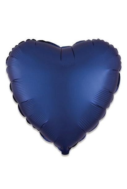Folieballon satin luxe hart navy (43 cm)