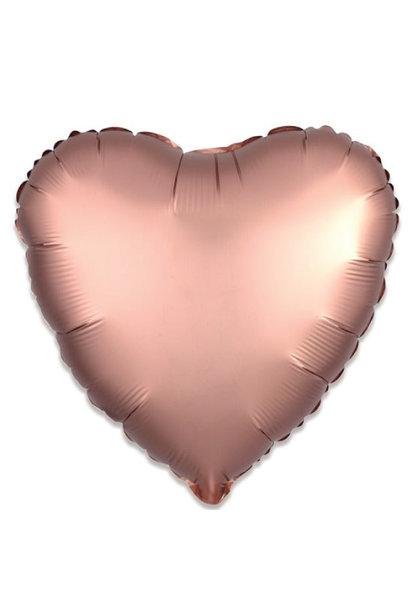 Folieballon satin luxe hart rosegoud (43 cm)