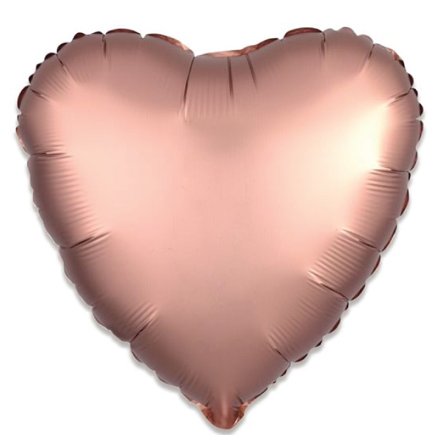Folieballon satin luxe hart rosegoud (43 cm)-1