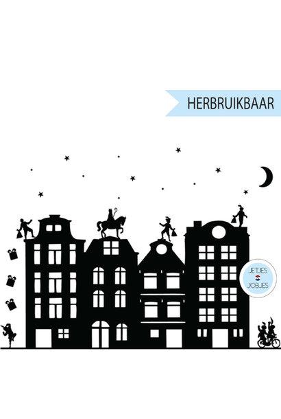 Raamsticker Sinterklaas met gratis kerstsetje (herbruikbaar)