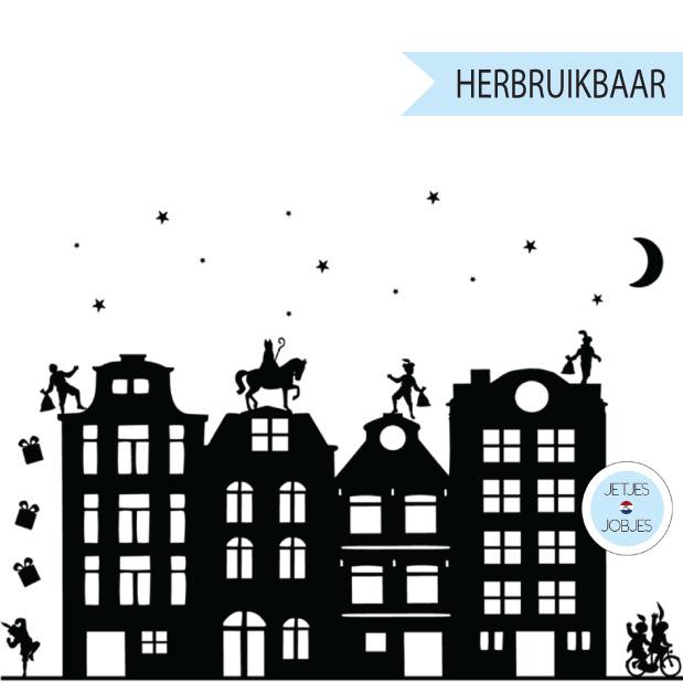 Raamsticker Sinterklaas met gratis kerstsetje (herbruikbaar)-1