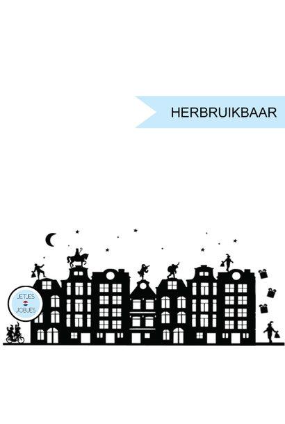 Raamsticker Sinterklaas XL (33st) met gratis kerstsetje (herbruikbaar)
