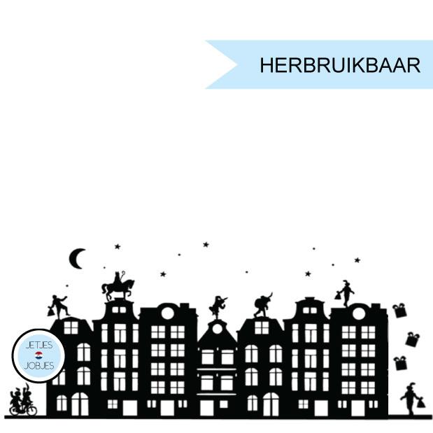 Raamsticker Sinterklaas XL (33st) met gratis kerstsetje (herbruikbaar)-1