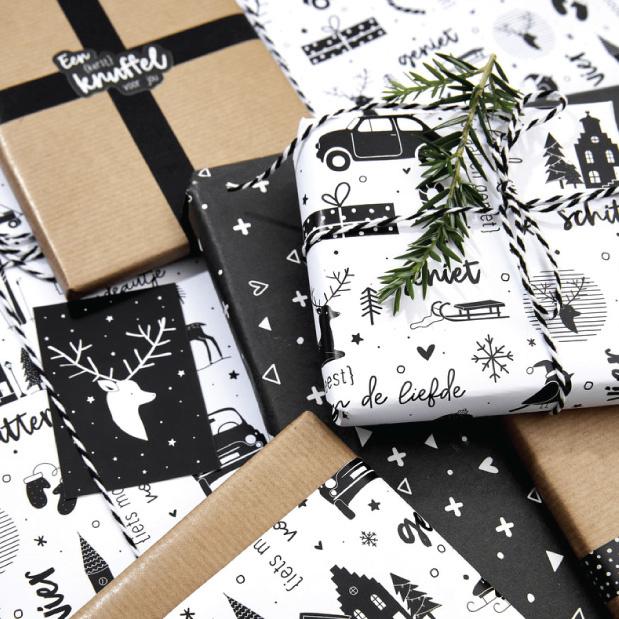 Cadeaupapier Kerst wit zwart-2