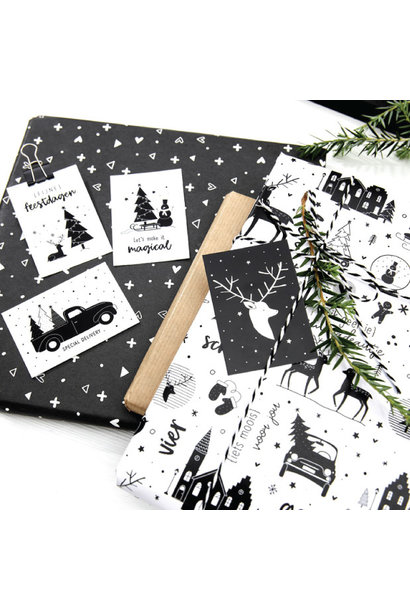 Cadeaupapier Kerst wit zwart
