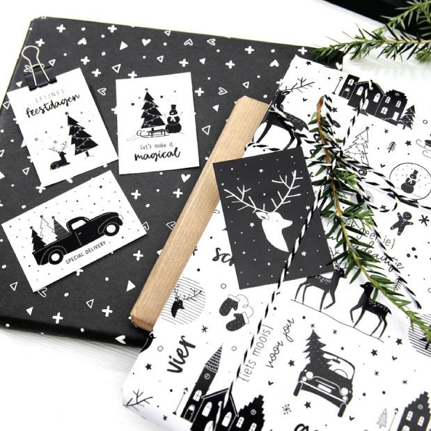 Cadeaupapier Kerst wit zwart-1