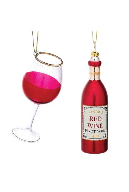 Kersthangers fles rode wijn en glas (2st) Sass & Belle