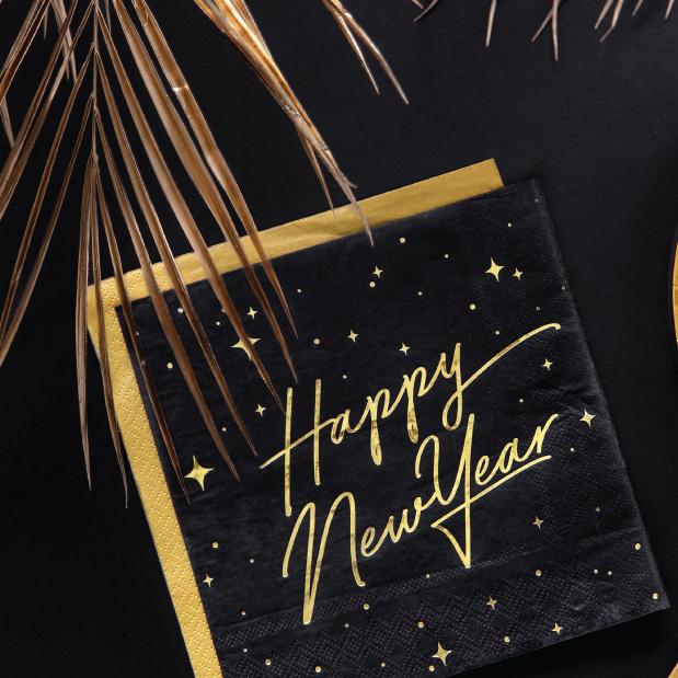 Servetten Happy New Year zwart (20st)-3