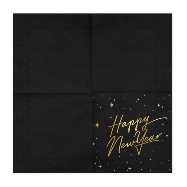 Servetten Happy New Year zwart (20st)-2