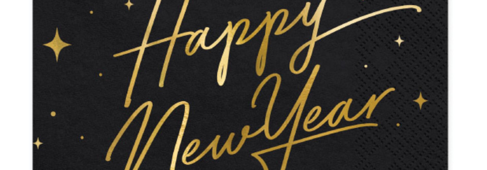Servetten Happy New Year zwart (20st)