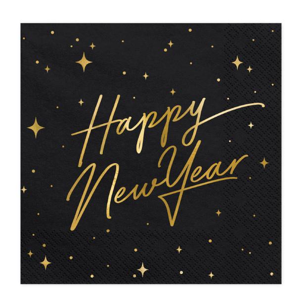 Servetten Happy New Year zwart (20st)-1