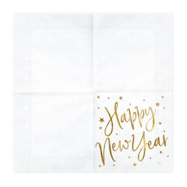 Servetten Happy New Year wit (20st)-2
