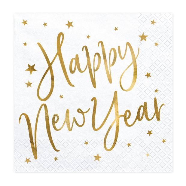 Servetten Happy New Year wit (20st)-1