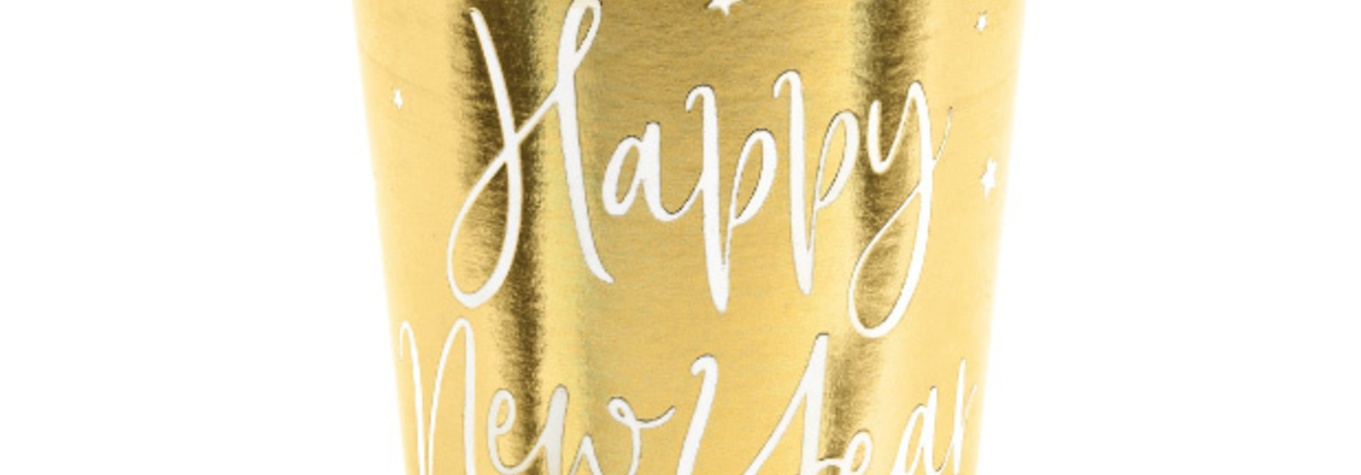 Bekertjes Happy New Year goud (6st)