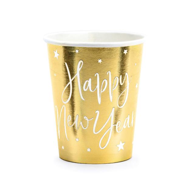 Bekertjes Happy New Year goud (6st)-1