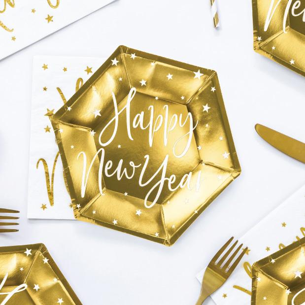 Bordjes Happy New Year goud (6st)-2