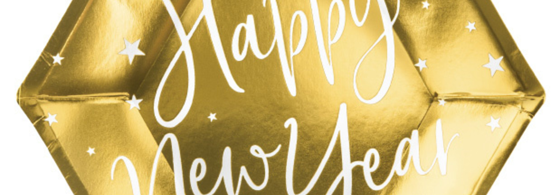 Bordjes Happy New Year goud (6st)