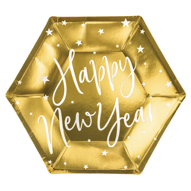 Bordjes Happy New Year goud (6st)-1