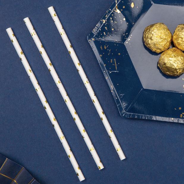 Papieren rietjes sterren goud (10st)-4