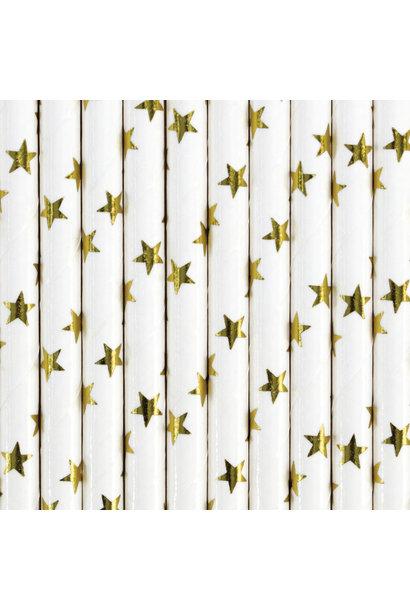 Papieren rietjes sterren goud (10st)