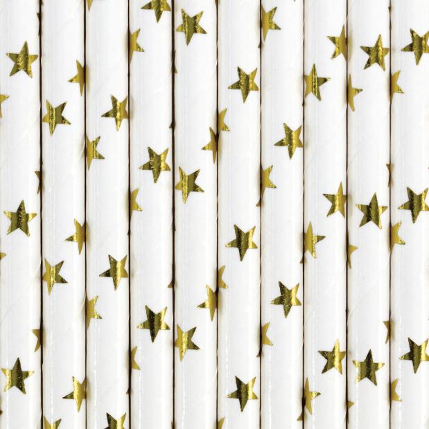 Papieren rietjes sterren goud (10st)-1