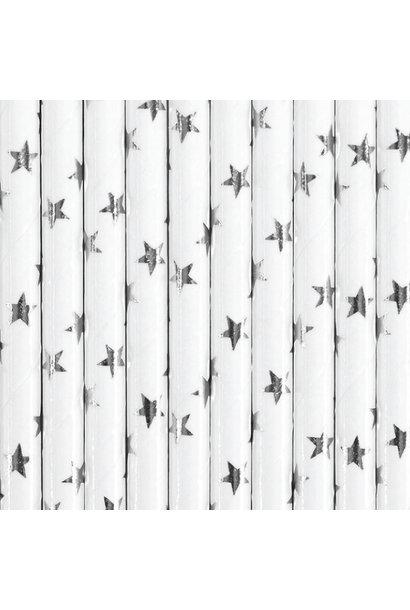 Papieren rietjes sterren zilver (25st)