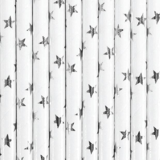 Papieren rietjes sterren zilver (25st)-1
