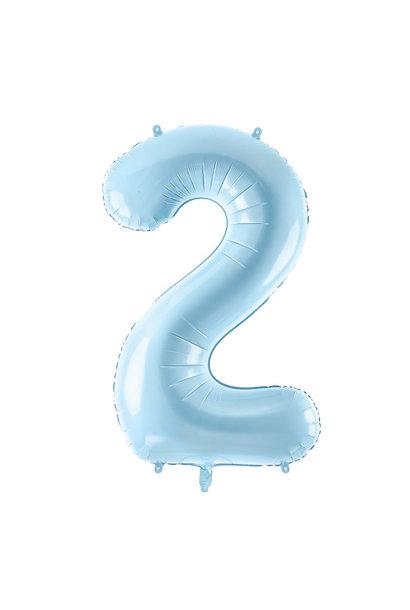 Folie cijferballon 2 lichtblauw (86 cm)