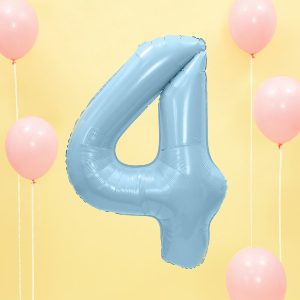 Folie cijferballon 4 lichtblauw (86 cm)-2