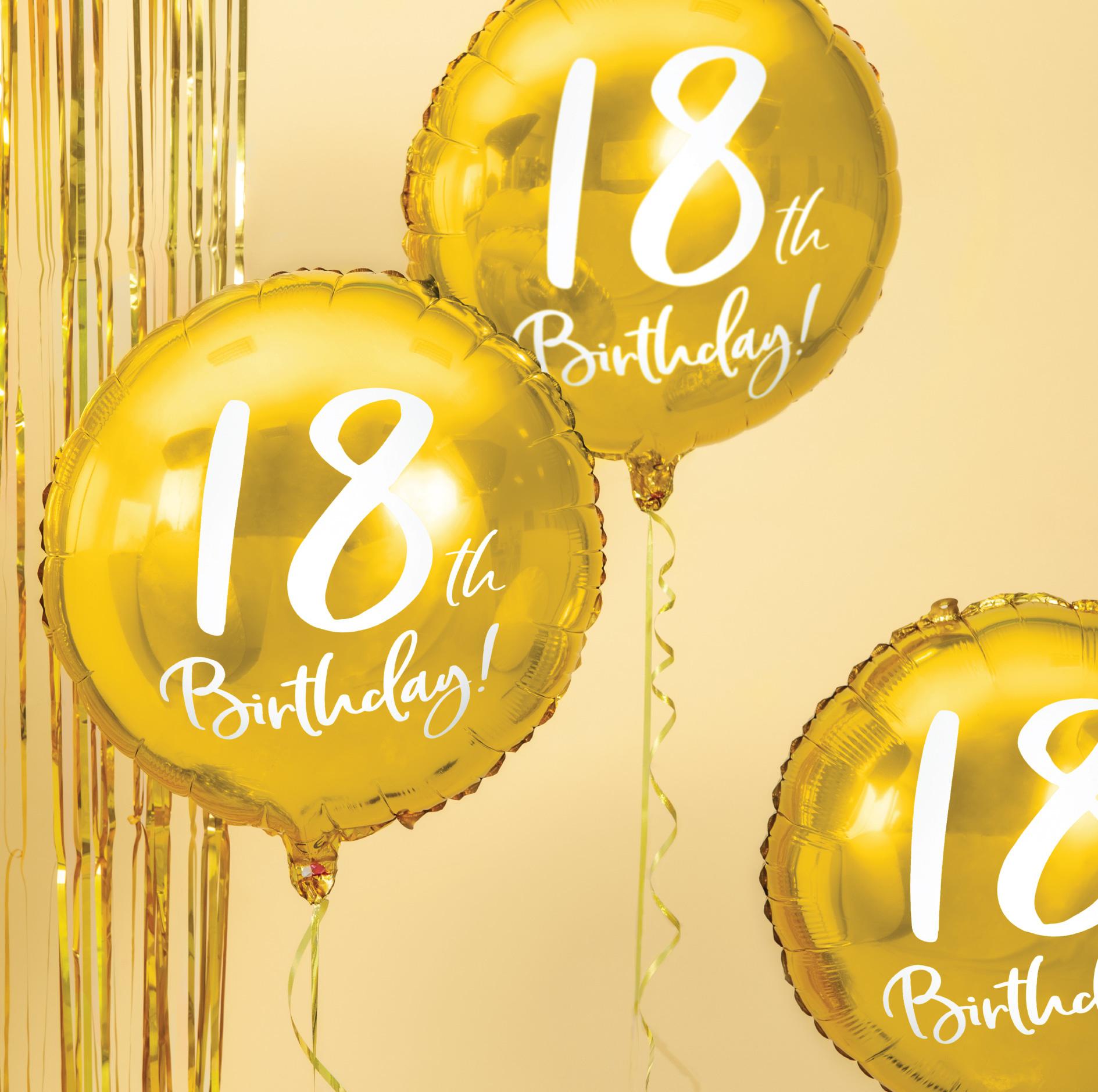 Folieballon 18th Birthday goud (45cm)-3