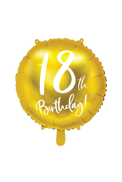 Folieballon 18th Birthday goud (45cm)