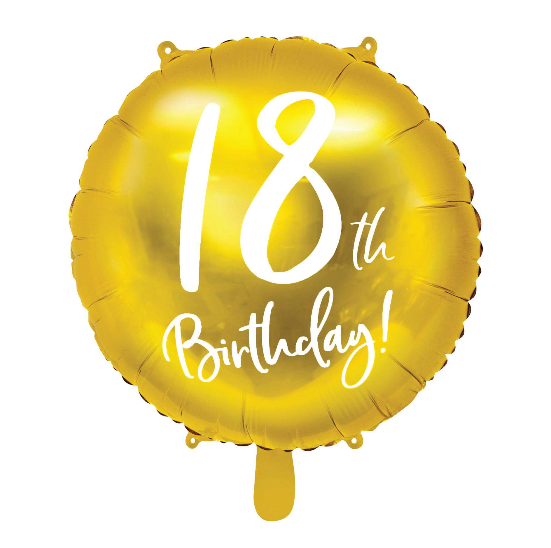 Folieballon 18th Birthday goud (45cm)-1