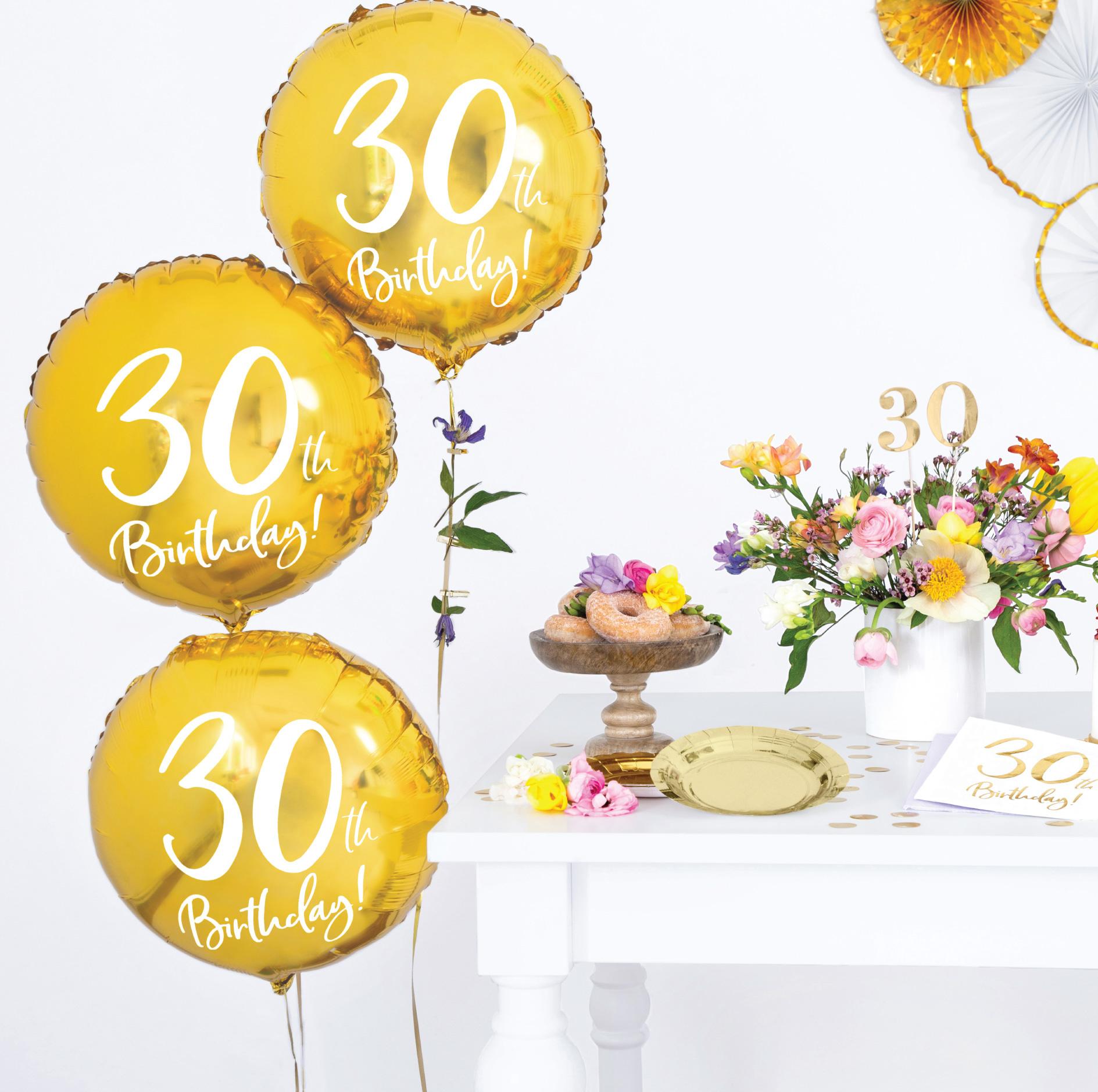Folieballon 30th Birthday goud (45cm)-6