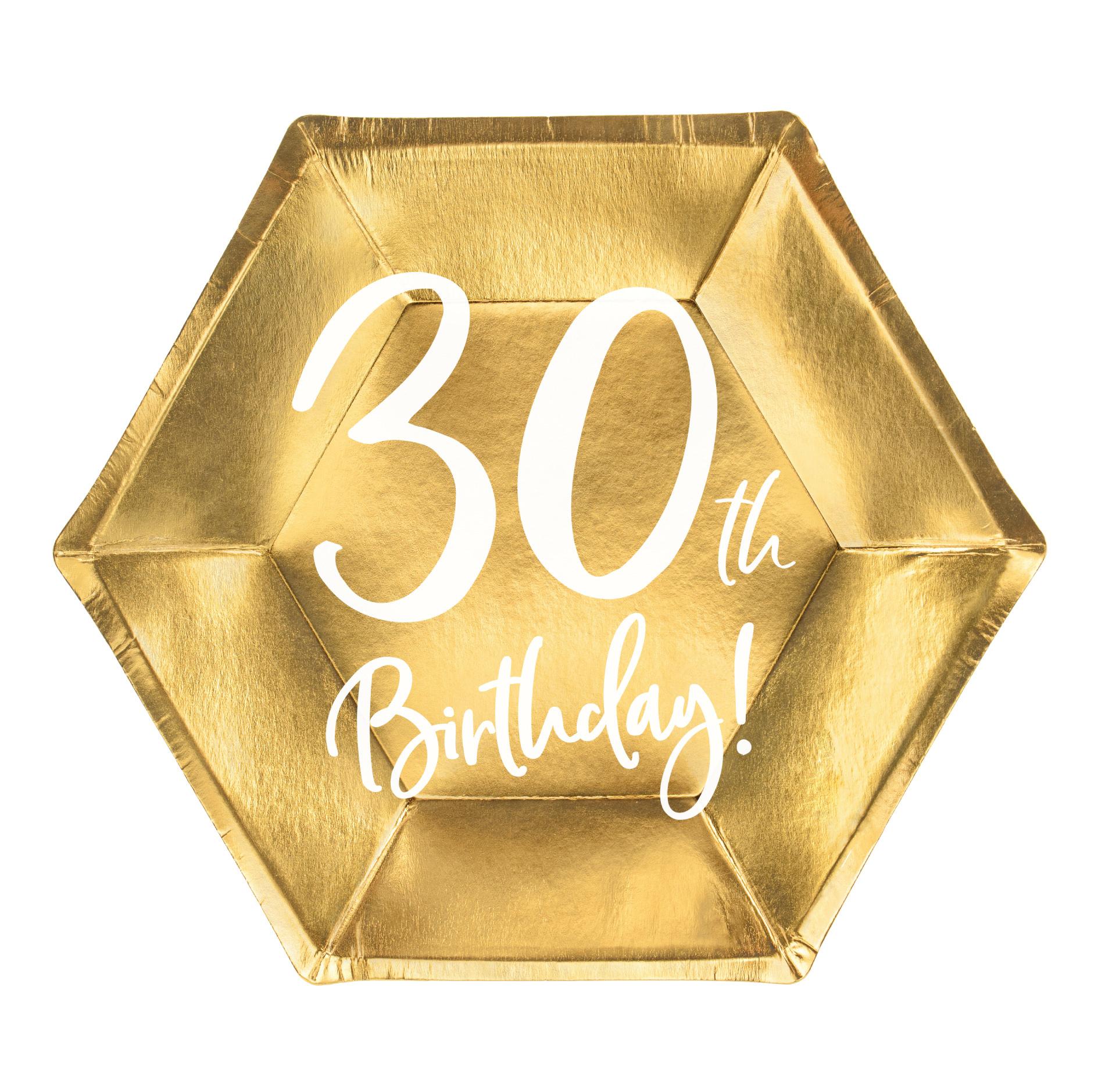 Borden 30th Birthday goud (6st)-1