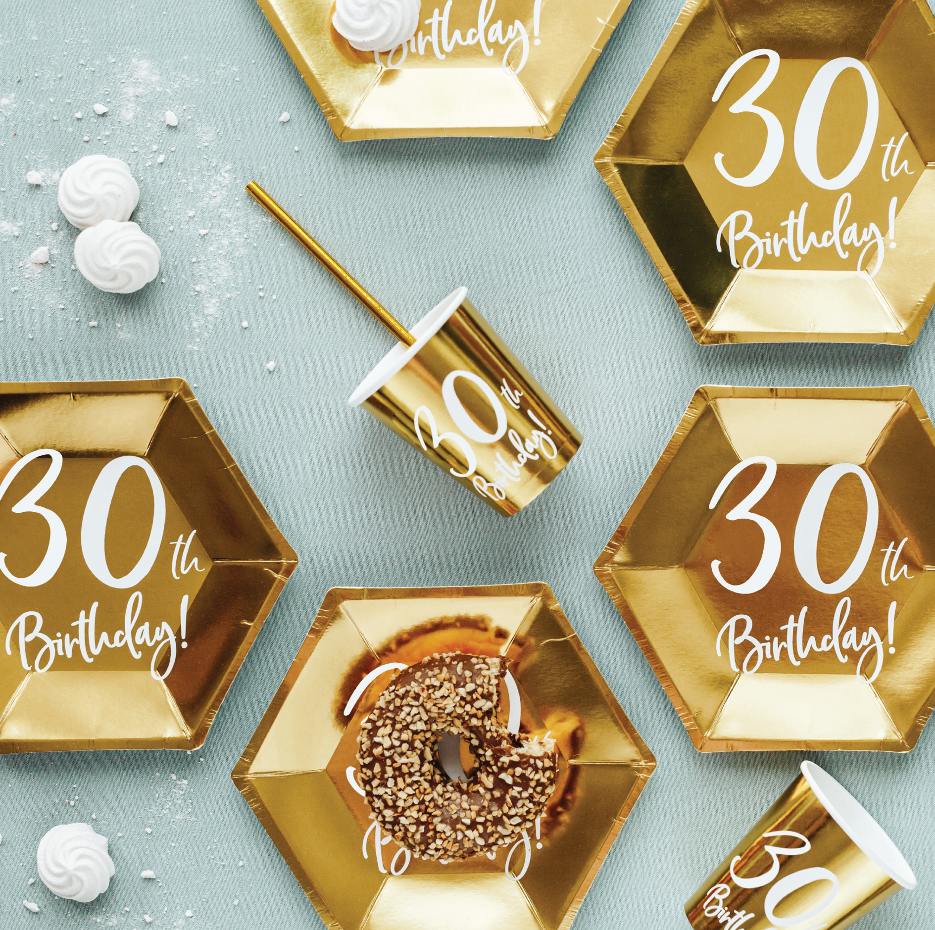 Borden 30th Birthday goud (6st)-3