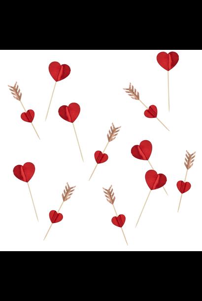 Valentijn Cupcake prikkers (12st) Hootyballoo