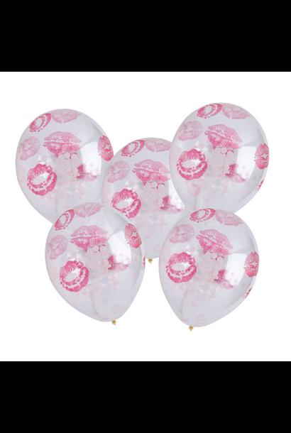 Ballonnen lippen en confetti (5st) Hootyballoo
