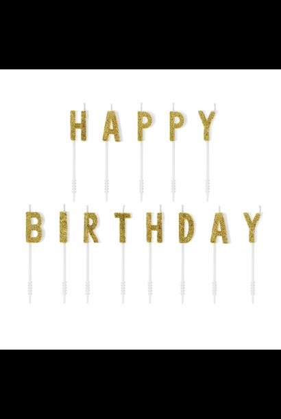 Kaarsjes Happy Birthday goud