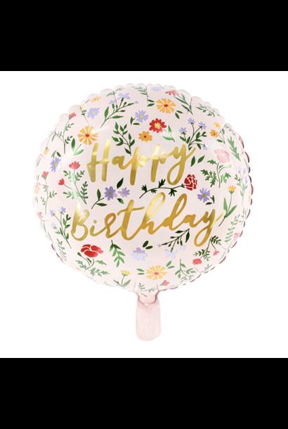 Folieballon Happy Birthday Flowers