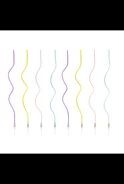 Taartkaarsen twisted pastel (8st)